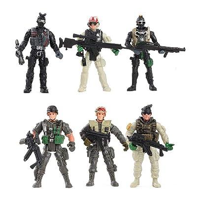 YIJIAOYUN 6 Piezas Gran Figura de Acción Soldados del ejército de Juguete con Arma / Figuras Militares Conjuntos de Juegos: Juguetes y juegos