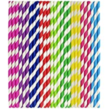 Tomnk 225pcs Stripe Paper Straw Drinking for Carious Drinking Decorations Parties Birthday Parties Weddings etc.