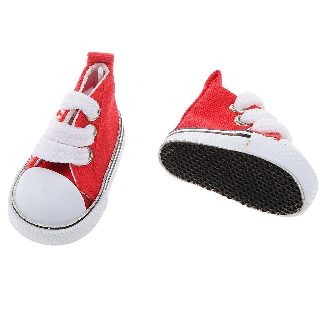 Rojo Accesorios de Ropa Fashion Par de Zapatos de Lona de Top Alto para 1//6 Mu/ñecas BJD