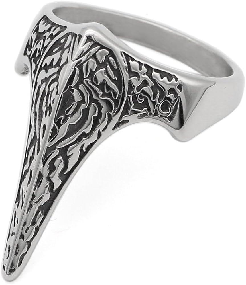 LoverInDeca - Anillo de acero inoxidable 316L para hombre con amuleto vikingo y anilla de madera de pájaro con bolsa de regalo