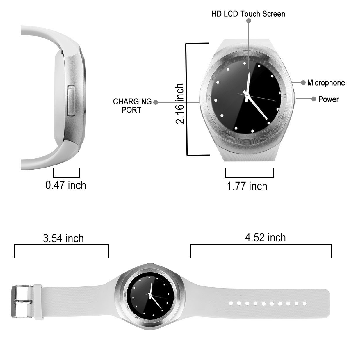 Kindak Smartwatch Y1 Black White (Blanco): Amazon.es ...