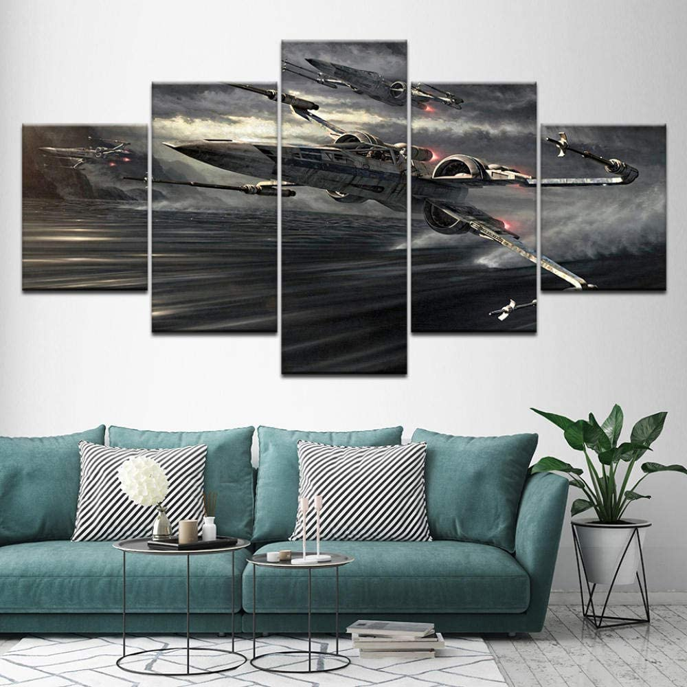 Canvas HD Prints Modular Pictures Wall Art 5 Pieces Sunset Sea Waves Seascape Paintings Beach Posters Home Decor Room 200x100 cm// 78.8x 39.4