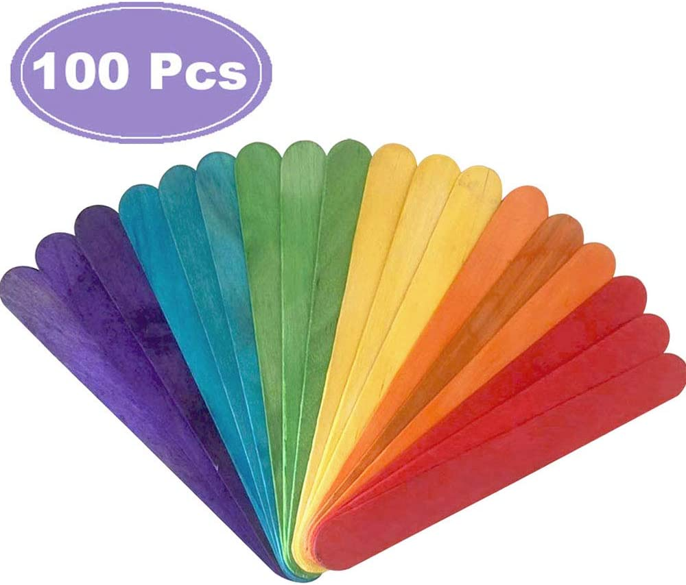 100 Pcs 6 Inch Jumbo Colored Natural Wood Popsicle Craft Sticks 61rONZyNRJL