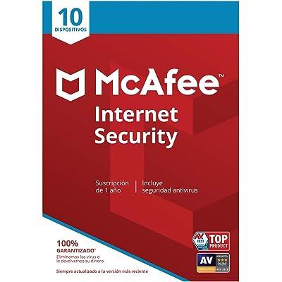 McAfee Internet Security - Antivirus   10 Dispositivos   Suscripción de 1 año   PC/Mac/Android/Smartphones   Código de activación por correo