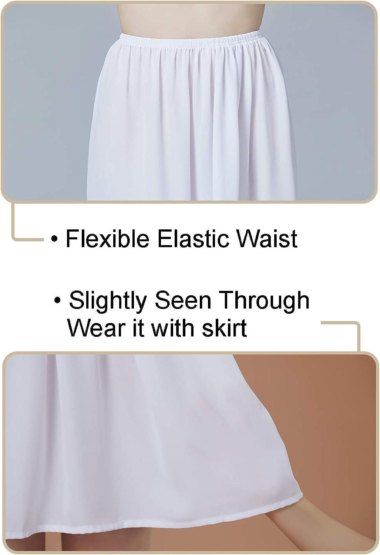 BEAUTELICATE Underskirt Gasa Medio Slip Antiest/ática Cintura Ajustable en 4 Diferentes Longitud Negro Marfil Blanco Nude Azul Marino