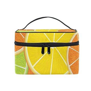 7457725de8e5 Amazon.com   Cosmetic Bag Fresh Juicy Orange Travel Makeup Train Cases  Portable Artist Storage Bag Organizer for Womens   Beauty