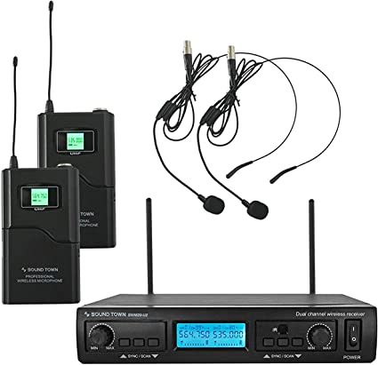 Sound Town 200-Channel Professional UHF Wireless Microphone System with 1 Handheld Mic//Headset//Bodypack Outdoor Wedding and Karaoke Business Meeting for Church