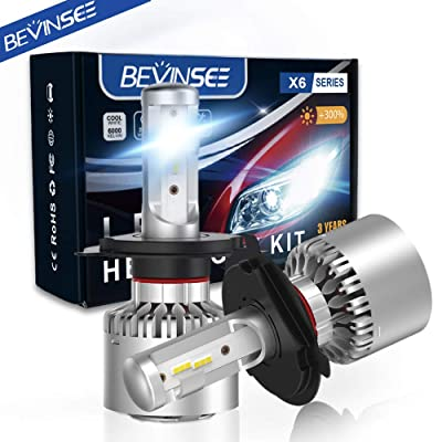Bevinsee H4 9003 LED Headlight White Bulbs Kit,2pcs: Automotive