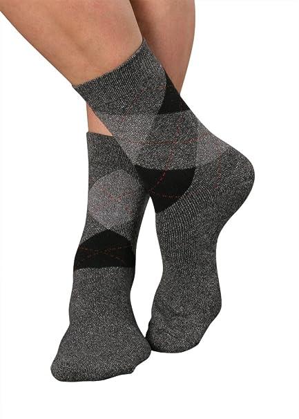 3 pares de calcetines térmicas, diseño de cuadros Div. Grises, Rojo, Azul