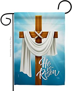 Breeze Decor He is Risen Garden Flag Religious Faith Hope Grace Peace Dove Christian Religion Easter House Decoration Banner Small Yard Gift Double-Sided, Made in USA