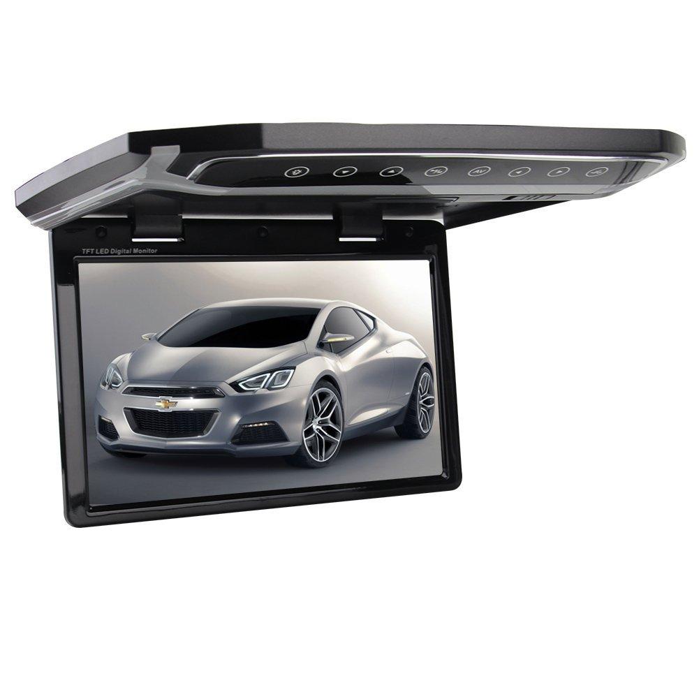 EinCar 12.1インチ フリップダウンモニター車用ルーフマウント MP3 MP4 ビデオ メディアプレーヤー  LED HD モニター  SD AV入力可 ワイド視野角度 タッチボタン付 上品なルックス 180度全開 横になっても見やすい角度へ リモコン付属 制御余裕!! 1年保証 B01GX1Y7MQ