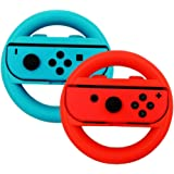 Nintendo Switch Steering Wheel Controller, niceEshop(TM) Joy-Con Wheel for Nintendo Switch(2 Pack), Blue and Red