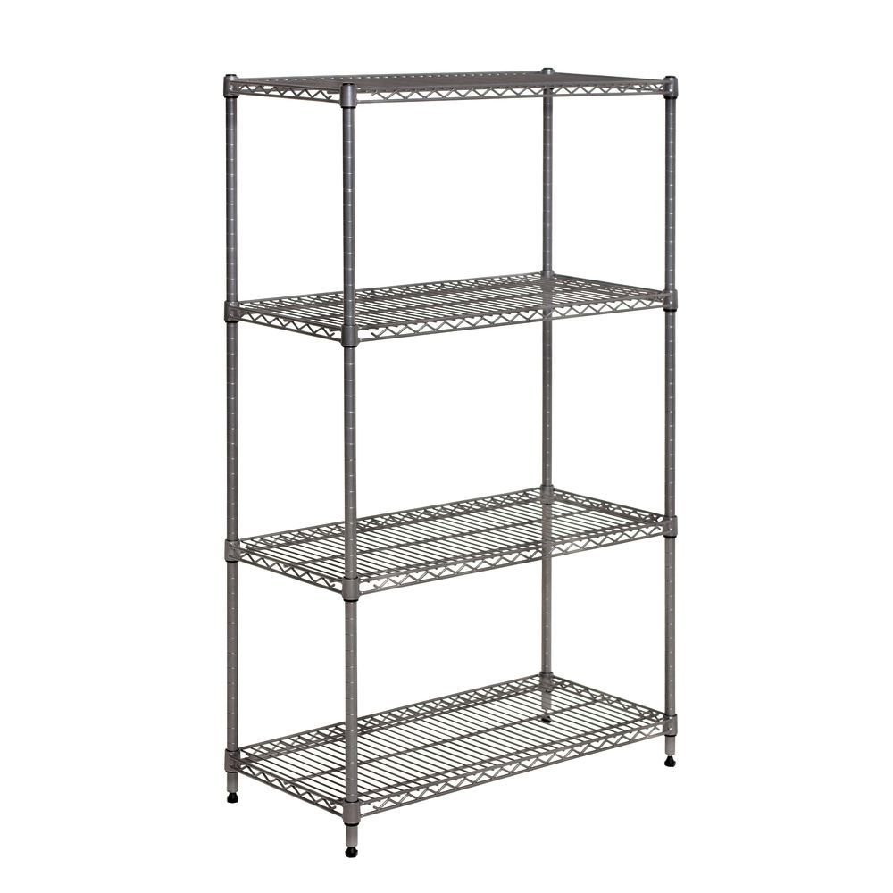 Wire Shelving Unit With 4 Shelves Flint- 30'' L x 14'' W x 48'' H