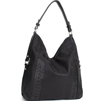 591b5d711e Amazon.com  WISHESGEM Handbags Women Shoulder Tote Bags Hobo Bags Top-Handle  PU Leather Purse A Black  Clothing
