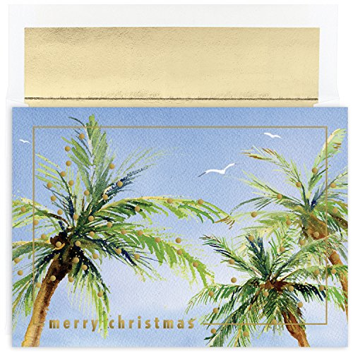 Masterpiece Warmest Wishes 18-Count Christmas Cards, Christmas Palms