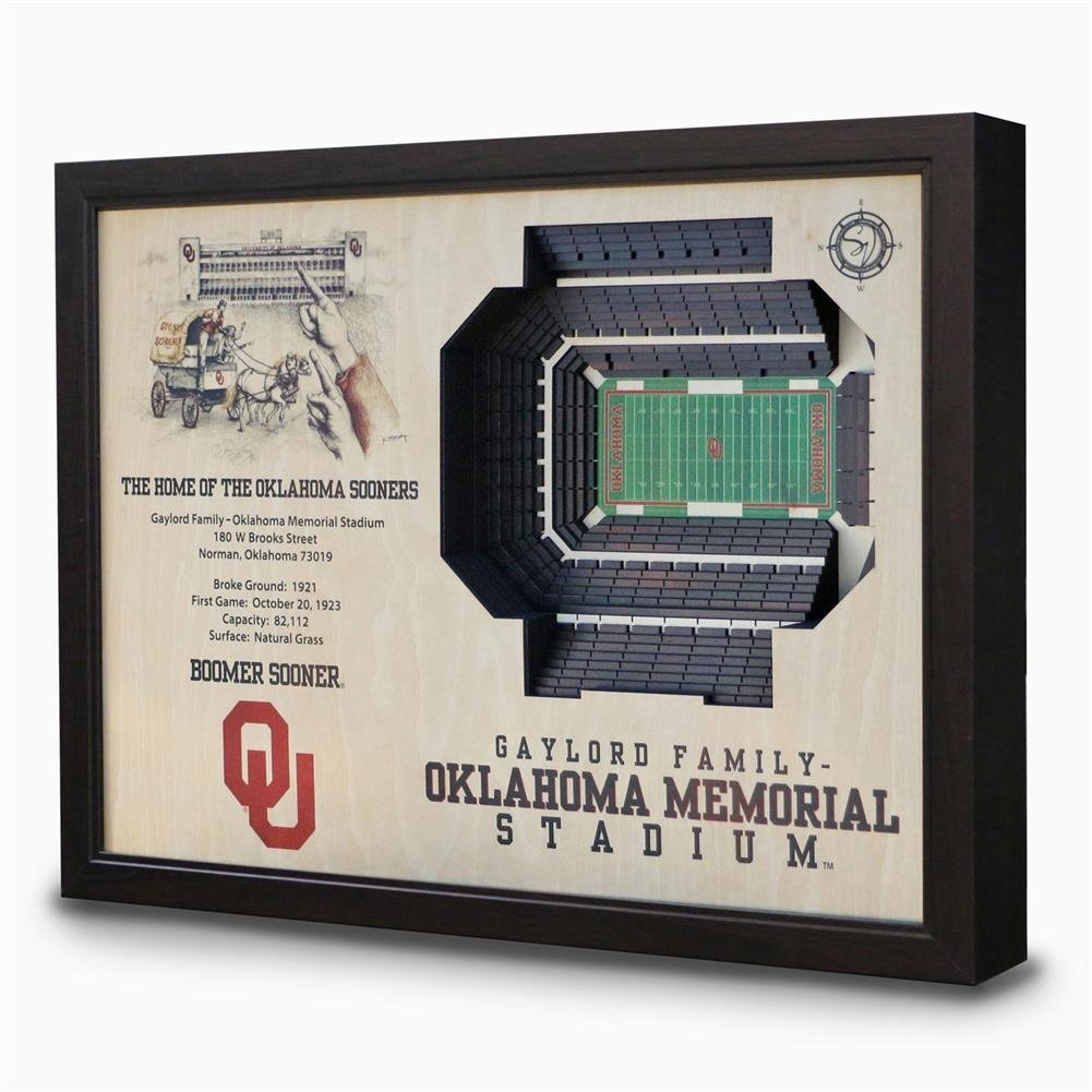 NCAA Oklahoma Sooners - Gaylord Family Memorial Stadium Stadiumview Wall Art, One Size, Birch Wood by Sportula