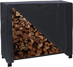 Iptienda Firewood Rack Cover, 4 Feet Waterproof Log Rack Cover, Heavy Duty 600D Outdoor Patio Furniture Protection Cover For Firewood& Wood Storage Rack 48
