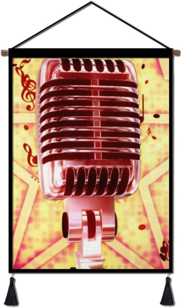 Music Notes Microphone Canvas Poster Hanging, Decorative Wall Art for Home Office Living Room Bedroom with Hanger Scroll Frame Ready to Hang