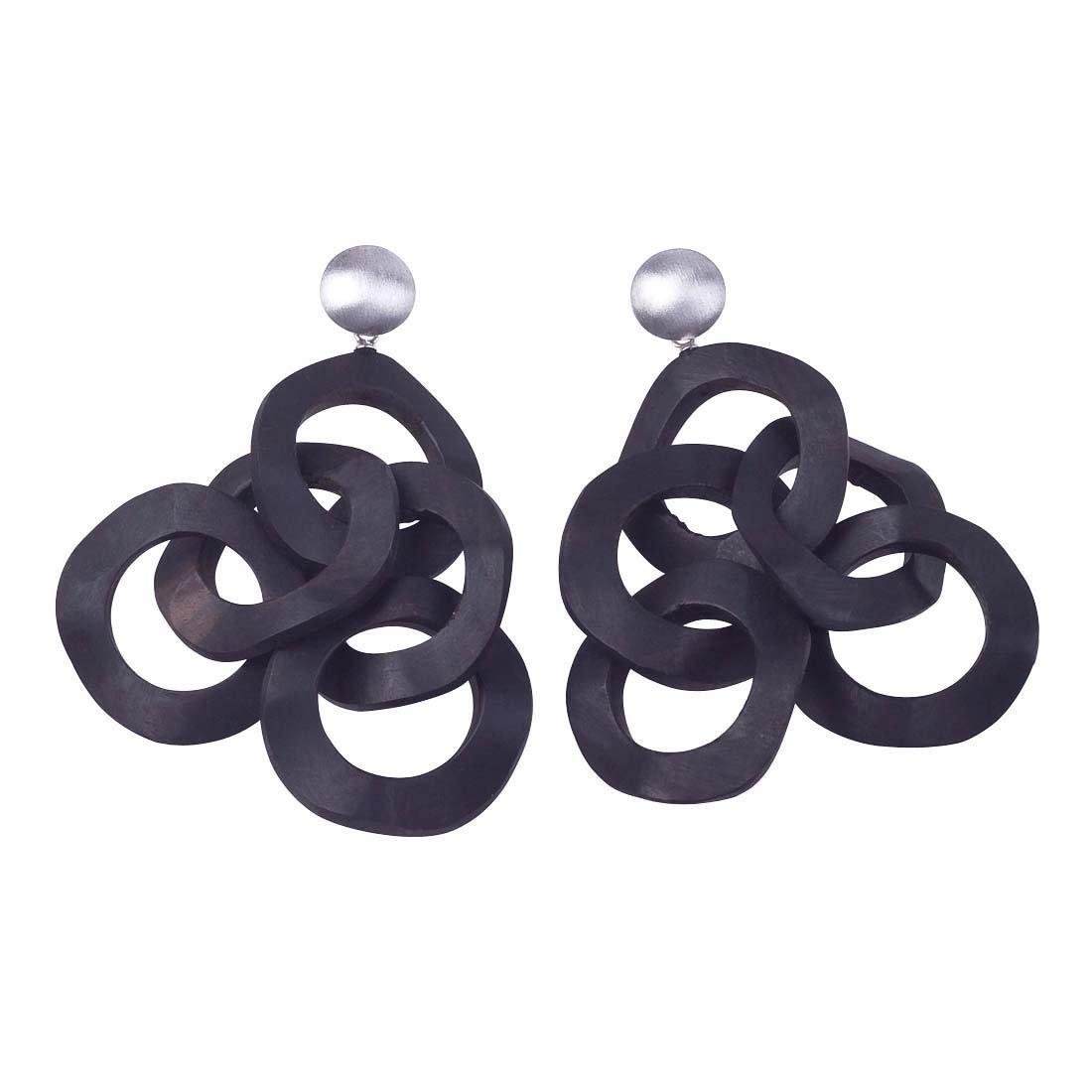Silver & Ebony Wood Cluster Earrings