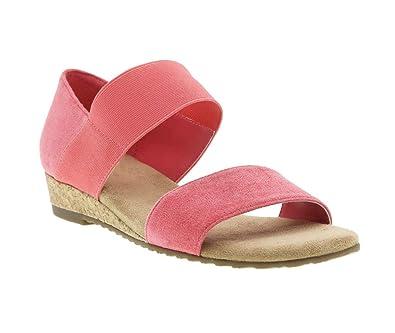 278d24b6c9 Impo Range Stretch Wedge Sandal w/Memory Foam, Rosey Coral Suedy Stretch, 6