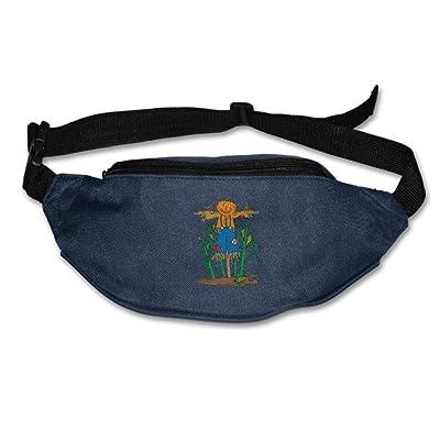 Janeither Unisex Pockets Pumpkin Scarecrow Strawman Image Fanny Pack Waist/Bum Bag Adjustable Belt Bags Running Cycling Fishing Sport Waist Bags Black