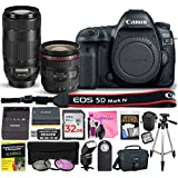 Canon EOS 5D Mark IV Digital SLR Camera (Wi-Fi, GPS) ESSENTIAL Multi-Lens STARTER Kit with Camera Body, EF 24-70mm f/4L IS USM Lens, EF 70-300mm f/4-5.6 IS II USM Lens & Camera Works Accessory Bundle
