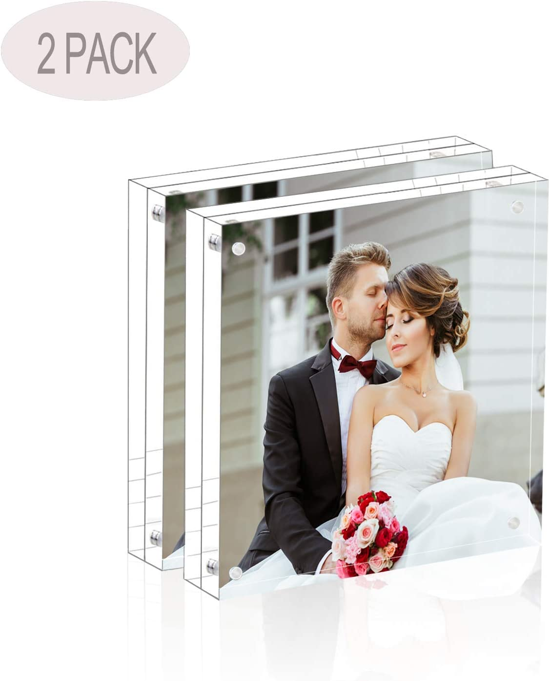 Magicool Premium Acrylic Photo Frame- Magnet Photo Frame -Double Sied Thick Desktop Frames (5x5 2 Pack)
