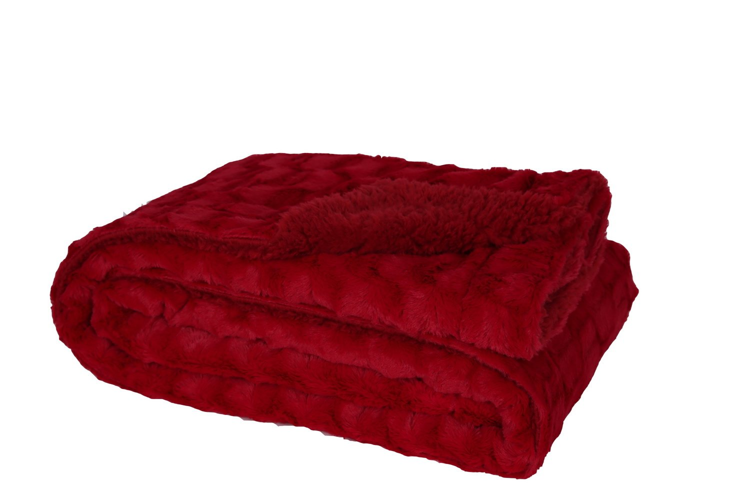 HappyCare Textiles Embossed Faux Fur Rev To Sherpa Throw Blanket, Burgundy