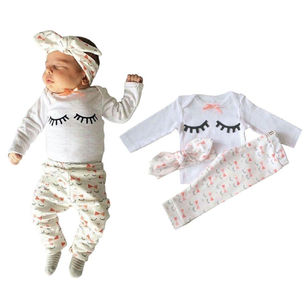 Amazon.com: Yilaku Eyelash Cute Newborn Baby Girl Clothes Top + Pants + Headband 3pcs Toddler Girls Infant Clothing Sets: Clothing