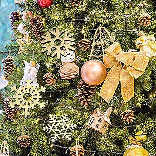 Kaluo 10Pcs Christmas Wood Snowflake Window Stickers, Xmas Winter Wonderland/Holiday Decorations Ornaments Party Supplies (2inch)