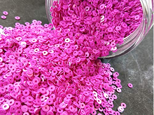 The Design Cart Bubblegum Pink Center Hole Circular Sequins (5 mm) (Pack of 250 Grams) for Embroidery, Art and Craft