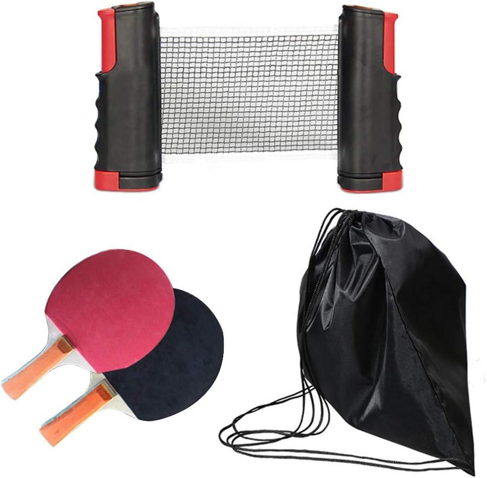 Kacsoo Ping Pong Juego de Tenis de Mesa, Red de Tenis de Mesa retráctil, Duradero (2 Raquetas, 4 Pelotas, una Bolsa y una Red retráctil) (Rojo/Negro)