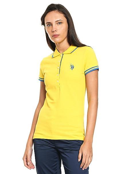 US Polo ASSN Playera Amarilla Manga Corta Polo para Mujer Amarillo Talla XL acdafaacf78a8