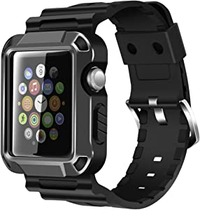 iiteeology Compatible with Apple Watch Band 42mm, Rugged Protective iWatch Case and Band Strap with Built-in Screen Protector for Apple Watch Series 3/2/1 (Space Gray)