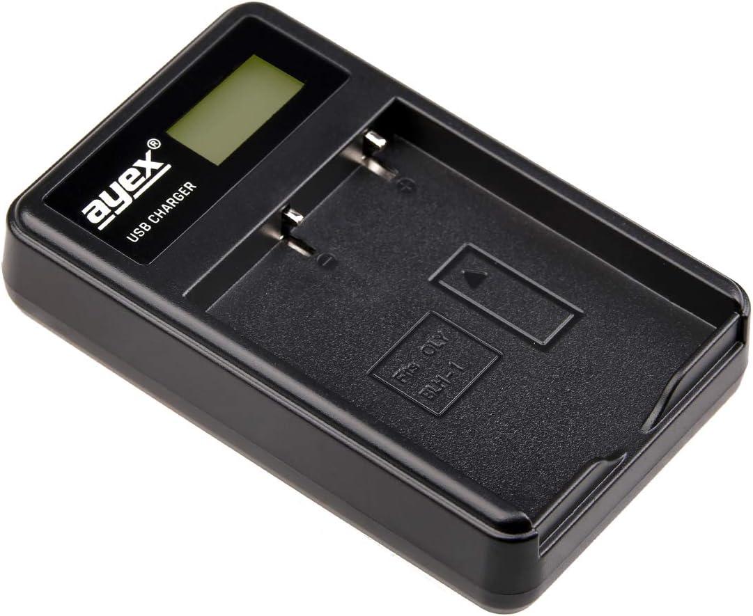 ayex Dual USB-Ladeger/ät f/ür Olympus Akkus Typ BLH-1 Laptop Laden /über USB Netzstecker Power Bank oder PC LCD-Display mit Ladestandanzeige