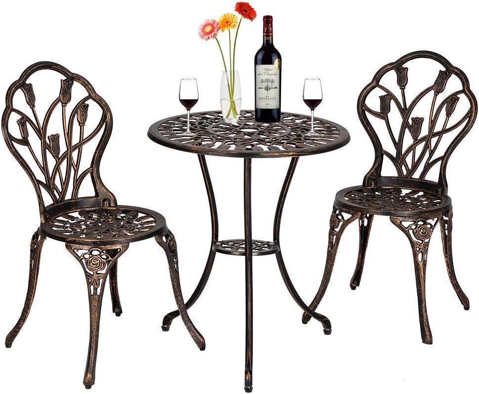 YYAO 3-Piece Patio Bistro Set,Cast Aluminum Bistro Table Chair Outdoor Patio Furniture,Tulip Design,Wrought Iron Patio Furniture