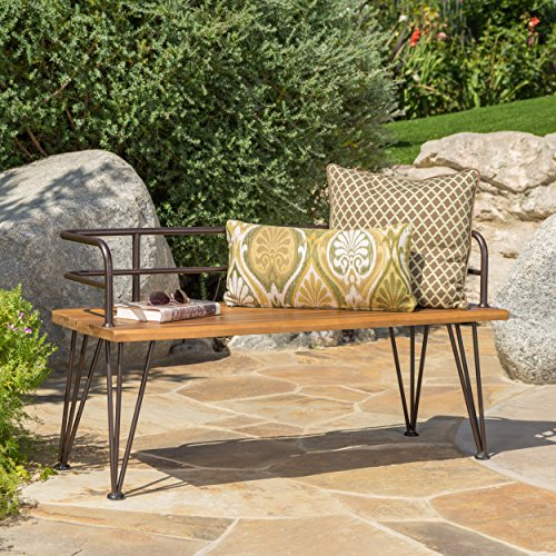 Christopher Knight Home Herres Outdoor Industrial Rustic Finshed Iron and Teak Finished Acacia Wood Bench