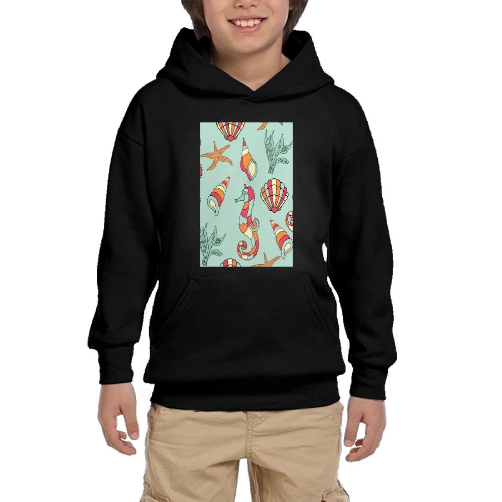 GLSEY Sea Creatures Have A Party Youth Soft Pullovers Hooded Sweatshirts Long Sleeve