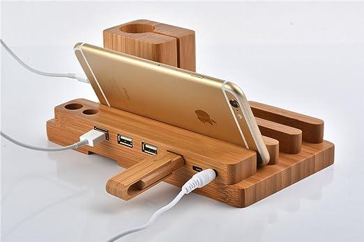 2 opinioni per 4 in 1 USB Stand Creativo in legno, PhantomSky Qualit à Premium Cover in Bambù /