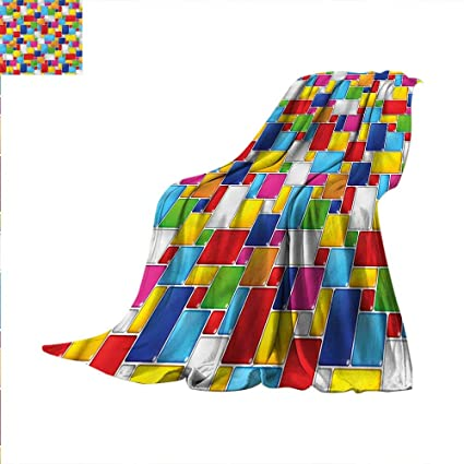 Colorful Throw Blankets Interesting Amazon Colorful Throw Blanket Square Shape Grid Cube Velvet