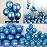 Chrome Metallic Balloons for Party 50 pcs 12 inch Thick Latex Balloons for Birthday Wedding Engagement Anniversary Christmas Festival Picnic or Any Friends & Family Party Decorations-Navy Blue