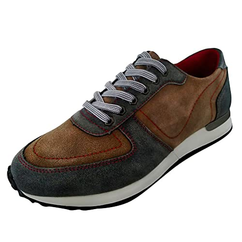Yolkoma Men s Suede Leather Running Jogger Lace up Comfort Casual Walking  Shoes Brown Size 7 63de3c695