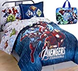 Boys 7pc ''AVENGERS'' TWIN SIZE Blue Comforter Set w/GLOW IN THE DARK Logo ''AVENGERS ASSEMBLE'' Comforter (64'' x 86'') + One SHAM + One TWIN SHEET SET + One Insulated LUNCH BOX