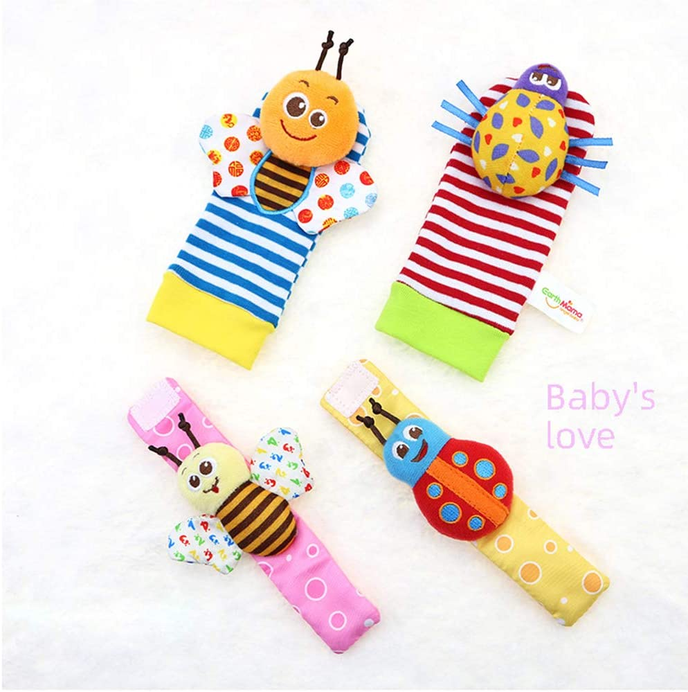 Bloobloomax Soft Baby Rattle Wrist Rattle Foot Finder Socks Set,Cotton and Plush Stuffed Infant Toys,Birthday Holiday Birth Present Gift for Newborn Boy Girl Kids Toddler-8pcs