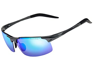 40cf5e6a1a Alice & Elmer Gafas de sol deportivas polarizadas para hombre con  ultraligero gris marco espejado verde