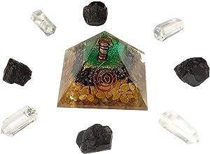 HARMONIZE Yellow Jasper Orgone Pyramid Energy Generator EMF Protection Healing Crystal Meditation Yoga with Chakra Symobol Home Décor Accessories