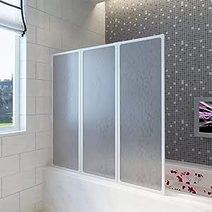 Mampara de ducha con 3 paneles plegables, Fácil de instalar en ...
