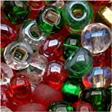 Czech Seed Beads 6/0 Mix Deck The Halls Christmas (1 Ounce)