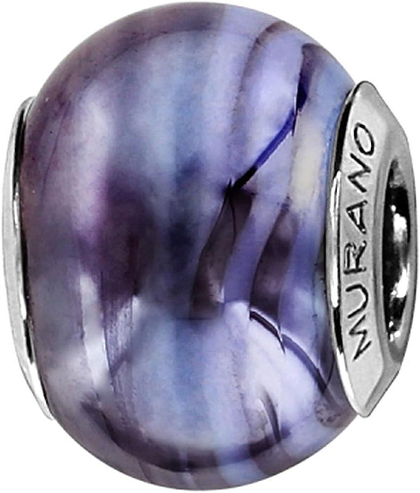 Thabora Violet Charm Femme Argent rhodi/é et Verre de Murano C05123