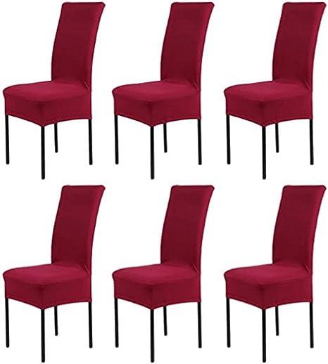 HMwish koobea Fundas para sillas Pack de 6 Elástico Fundas sillas ...